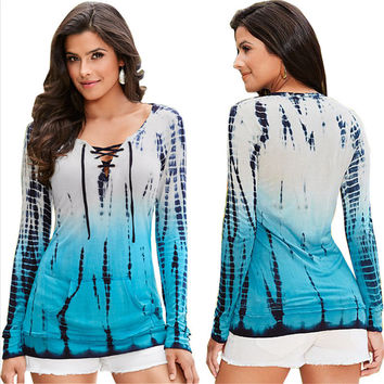 Blue Dye Contrast Lace Up Long Sleeve Blouse