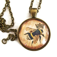 Queen Bee Necklace  Bronze by JewelrybyJakemi on Etsy