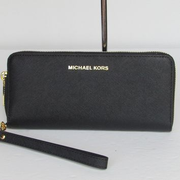 NEW Michael Kors Travel Continental Saffiano Black Leather Wallet $168.00