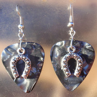 Horseshoe Earrings - Western Guitar Pick Jewelry, Silver Dangling, Choice 12 Colors, Cowgirl Pierced or Clip On Earrings