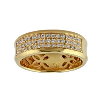 0.54ct Round Diamonds in 18K Yellow Gold Half Eternity Wedding Band - Size 10