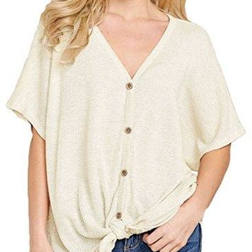 VAYAGER Womens Loose V Neck Short Sleeve Button Down Blouse Front Tie Knot Casual Tunic Tops Shirts