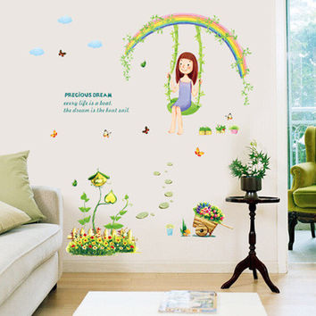 The sitting room the bedroom sand room background decoration Romantic under the rainbow swing with girls SM6