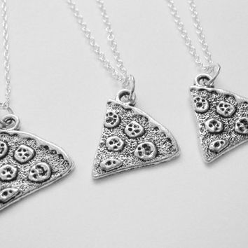 3 Best Friend Slice of Pizza Necklaces Bff