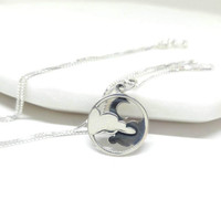 Clouds Moon Necklace Sterling Silver Moon Cloud Pendant Sky Necklace Silver Charm Small Pendant