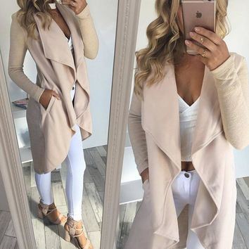 Womens Solid Color Jacket Long Irregular Coat +Gift Necklace