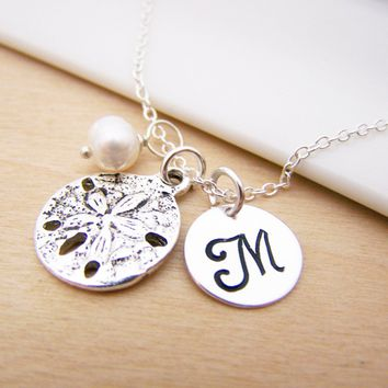 Sand Dollar Beach Charm Swarovski Birthstone Initial Personalized Sterling Silver Necklace / Gift for Her