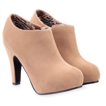 Zipper Cone Heel Suede Ankle Boots