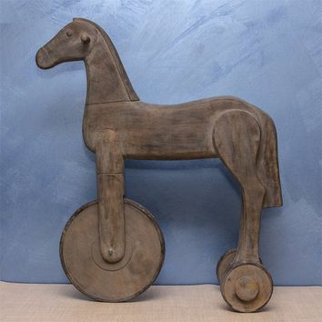 Alluring Horse With Wheel Figurine, Brown