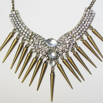 Rhinestone Bronze Spiky Punk Gothic Prom Rivet Bib Choker Statement Necklace