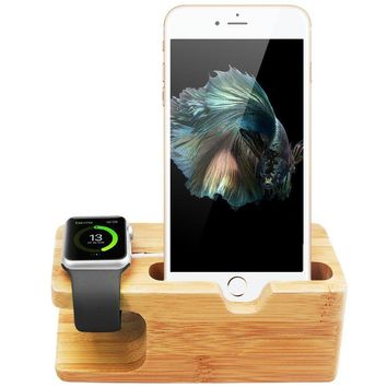 Bamboo Wood Charging Stand Docking Station for iPhone iWatch 38mm 42mm