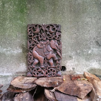 Vintage Hand Carved Wood Relief Wall Hanging Thai Elephant
