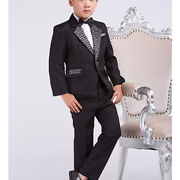 Four Pieces Black Ring Bearer Suit Boys Tuxedo