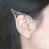 Silver Plated Handmade Wire Wrapped Elf Ear Cuffs With Red Swarovski Elements, Mermaid Earcuffs, Pixie Ear Cuffs LARP