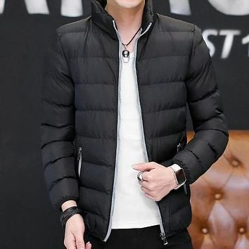 Men's Casual Cotton Padded Slim Fit Winter Jacket