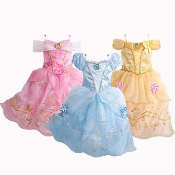 New Girls Dresses Cartoon Cosplay Cinderella Princess Dress Kids Summer Dress For 2-10 Years Old 3 Color Baby Children Clothing