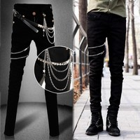 Idopy Fashion Slim Fit Denim Pants Punk Style High Elastic Stretchy Zippers Gothic Button Jeans Trouser For Men With Chain