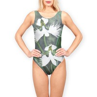 'White egret orchid flowers (Habenaria radiata)' Swimsuits by Savousepate on miPic