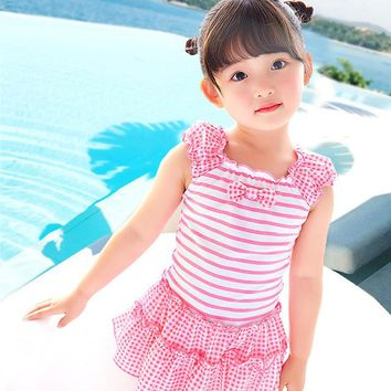 Summer Baby Girl Swimsuit Pink Stripe Children Swimwear Cute Bowknot Swimming Suit Lovely Beach Hot Spring One-piece Swim Set