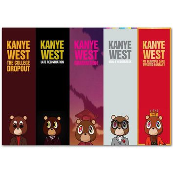 A494 Kanye West Yezzy USA Grammy Rap HipHop Music Singer Top A4 Art Silk Poster Light Canvas Painting Print Home Decor Room Wall