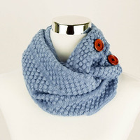 Light Blue Scarf Knit Infinity Scarf Blue Crochet Infinity Scarf Blue Knitted Infinity Scarves Crochet Infinity Scarves Blue Knit Scarves