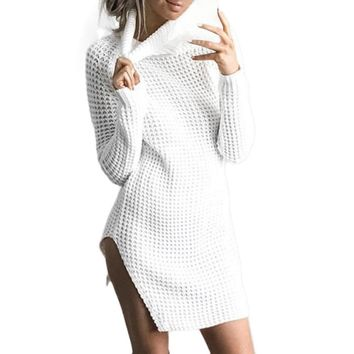 Womens Turtleneck Knitted Dress Winter Long Sleeve Bodycon Party Ladies Cocktail Mini Dress Solid Short vestidos