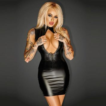 Apparel Sexy Black Faux Leather Short Skinny Dresses For Women Mini Clubwear Plus Wet Look Front Open Bodycon Dress