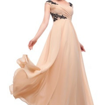 Nude Color Ruching Top Evening Dress With Contrast Applique Details
