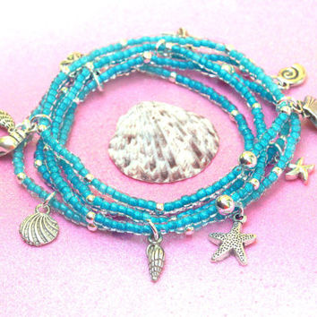 aqua starfish beaded stacking bracelet set, beach bracelet, starfish charms, starfish jewelry, seashell bracelet, beachy bracelet, beachy