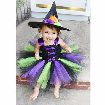 Moeble 2017 Little Witch Baby Girls Christmas Cosplay Party Dress Princess Kids Tulle Tutu Dresses Children Fancy Costume
