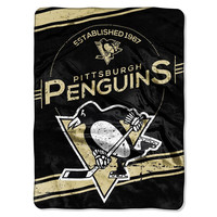 Pittsburgh Penguins NHL Royal Plush Raschel Blanket (Stamp Series) (60x80)