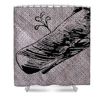 Whale On Burlap - Shower Curtain