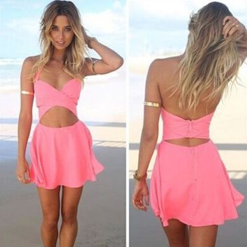 Summer hanging neck backless chiffon dress hollow out