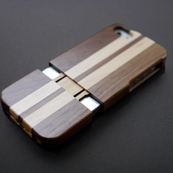 Walnut Splicing Maple Stripes Wood iPhone 5s Case - Real Wood iPhone 5 Case - iPhone 5s Case Wood - Wooden iPhone 5 Case - Christmas Gift