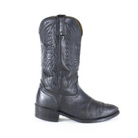 Black Leather Cowboy Boots Southwestern Distressed Western Boots Womens Size 9.5