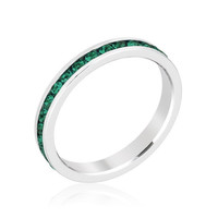Stack Me Emerald - Rhodium Plated Brass Ring With Round Cut Emerald Colored Swarovski Crystals