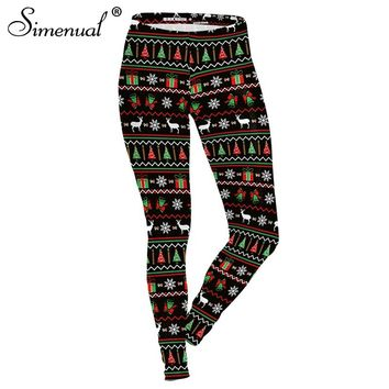 Simenual 2018 Fashion christmas leggging activewear deers funny print black leggings women clothing fitness slim sexy jeggings