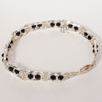 Swarovski Jet Black Beaded Bracelet with Miyuki Silver Twisted Bugle Beads