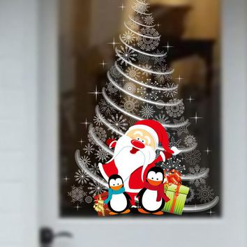 Creative wall stickers shop window glass doors and windows decals decorations decorations Christmas tree stickers