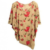 Floral Batwing Sleeves Shirt - ROMWE