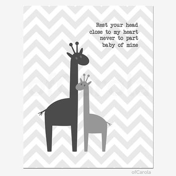 """Gray White Wall Art Print Nursery Room Decor Giraffes, Rest Your Head Close To My Heart Quote Only Chevron Animal Silhouette ofCarola 8x10"""""""