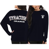 Syracuse Orange Women's Navy Blue Aztec Sweeper Long Sleeve Oversized Top