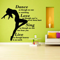Wall decal decor decals sticker art vnyl design girl dance plasty love life motion sing words inscription phrase quote Bedroom (m1251)