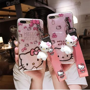 For iPhone 5 5S SE Kitty Case, bling Hello Kitty Cover for iPhone X 6 6S 6SPlus 7 7plus 8 8plus KT cover + toy stander +StrapS