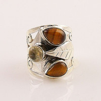 Tiger Eye & Citrine Sterling Silver Fall Leaves Ring