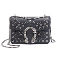GUCCI Fashion Women New Retro Metal Chain Small Square Bag Rivet Bag Shoulder Bag Crossbody Satchel Shoulder Bag Black