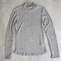 ribbed mock neck long sleeve shirt - heather grey