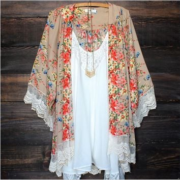 NEW Sexy Women Swimwear Floral Lace Kimono Cardigan Kaftan Cover Up Beach cover ups printed floral beach bikini cover ups blouse