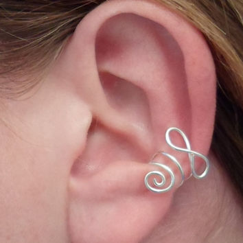 Infinity Ear Cuff, Sterling Silver 925. Single. Cartilage. No Pierced Infinite ear cuff.
