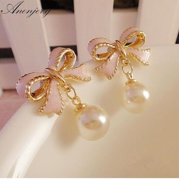 Delicate Gold Color Pink Drops Of Oil Butterfly Bow Knot Pearl Stud Earrings